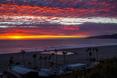 Photograph - Red Sky And Golden Sun - Santa Monica Bay by Gene Parks
