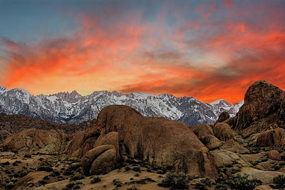Photograph - Red Sky At Alabama Hills, Lone Pine, Ca by John Hight