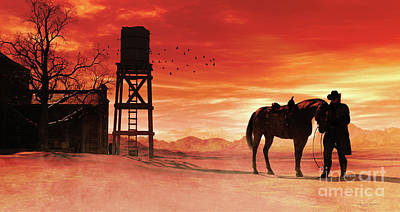 Mixed Media - Red Sky At Night Cowboy by Shanina Conway