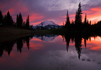 Lake Photograph - Red Sky At Night by Mike  Dawson