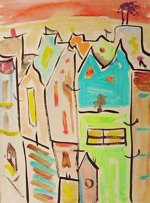 Painting - Red Sky City Vision by Mary Carol Williams