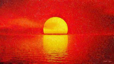 Coastline Digital Art - Red Sky - Da by Leonardo Digenio