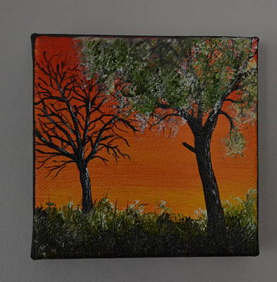 Small Size Painting - Red Sky Forest by Martin Schmidt