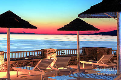 Hermes Wall Art - Photograph - Red Sky From The Pool In Mykonos by John Rizzuto