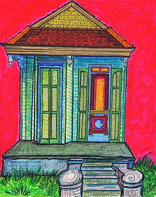 Corbels Painting - Red Sky In The Marigny by Aleta Kim Lawton