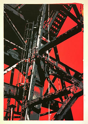 Rivets Mixed Media - Red Sky Industrial by Shay Culligan