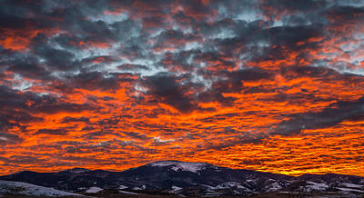 Photograph - Red Sky Sunset Over Pintada Mountain San Juan Mountains Colorado by John Brink