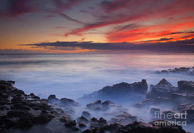 Beach Photograph - Red Sky Kauai by Mike Dawson