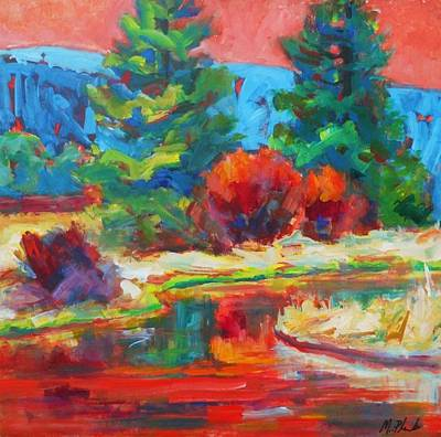 Sunriver Painting - Red Sky by Margaret  Plumb