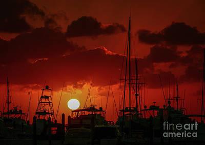 Photograph - Red Sky Marina Sunrise by Tom Claud