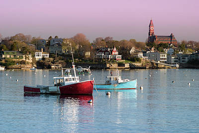 Photograph - Red Sky On Marblehead Harbor by Jeff Folger