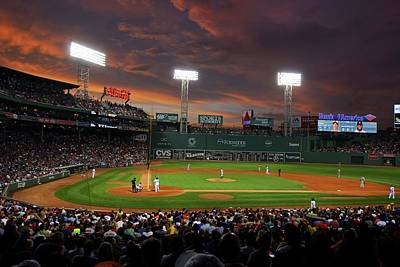 Photograph - Red Sky Over Fenway Park Boston Ma by Toby McGuire