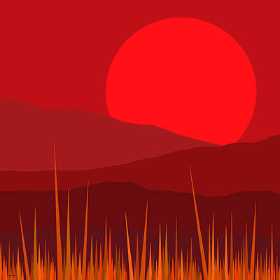Red Abstract Digital Art - Red Sky - Red Sunset by Val Arie