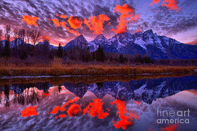 Photograph - Red Snake River Sunset Reflections by Adam Jewell