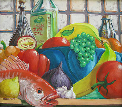 Pepper Painting - Red Snapper And Fruit by D T LaVercombe