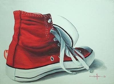 Still Life Painting - Red Sneakers by Nolan Clark