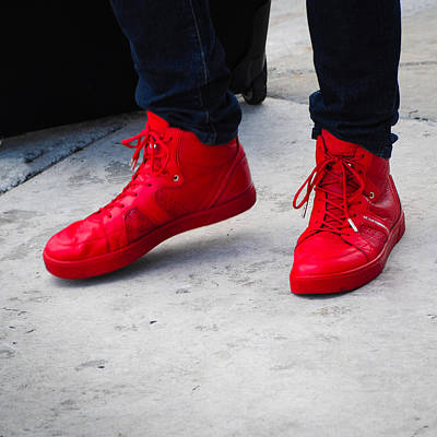 Photograph - Red Sneakers by Robin Zygelman