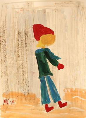 Simplicity Drawing - Red Snow Hat by Mary Carol Williams