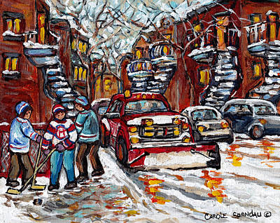 Painting - Red Snow Plow Montreal Streetscene C Spandau Artist Winter In The City Hockey Art Paintings For Sale by Carole Spandau