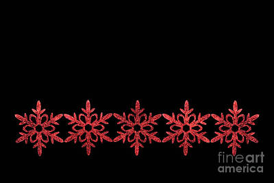 Photograph - Red Snowflake Ornaments by Diane Macdonald