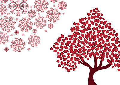Digital Art - Red Snowflakes And Tree Christmas Art by Serena King