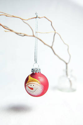 Photograph - Red Snowman Bauble On A Branch by Helen Northcott