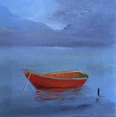 Painting - Red Solitary Boat by Alicia Maury
