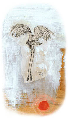 Mixed Media - Red Son Crane by Sam Arneson