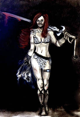 Drawing - Red Sonja by Katy Hawk