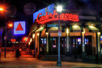 Photograph - Red Sox Art - Cask N Flagon - Citgo Sign by Joann Vitali