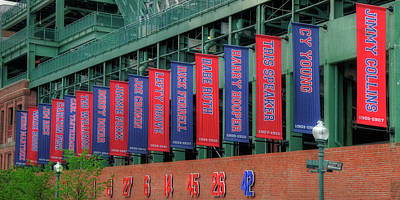 Red Sox Hall Of Fame Banners - Fenway Park Art Print by Joann Vitali