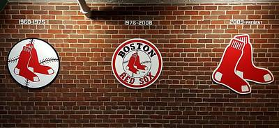 Redsox Photograph - Red Sox Logos by Bart Blumberg