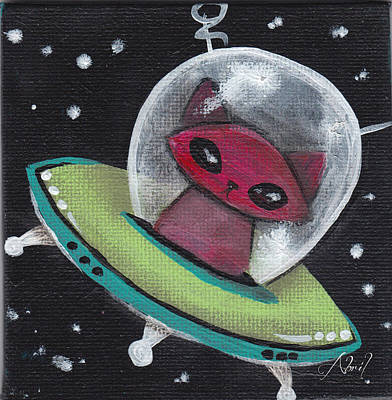 Pop Surrealism Painting - Red Space Cat  by Abril Andrade Griffith