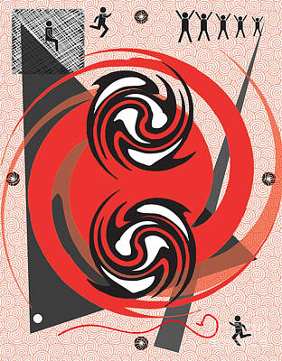 Art Print featuring the digital art Red Spirals by Christine Perry