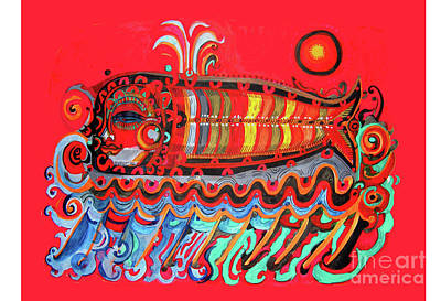 Painting - Red Spirit Fish by Lydia L Kramer