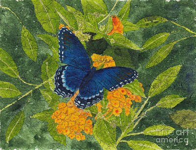 Painting - Red Spotted Purple Butterfly Batik by Conni Schaftenaar