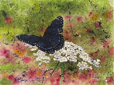 Painting - Red Spotted Purple Butterfly Queen Annes Lace Batik by Conni Schaftenaar