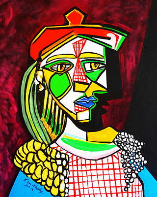 Painting - Red Squares Picasso Style by Nora Shepley
