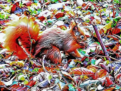 Photograph - Red Squirrel Camouflaged by Dorothy Berry-Lound