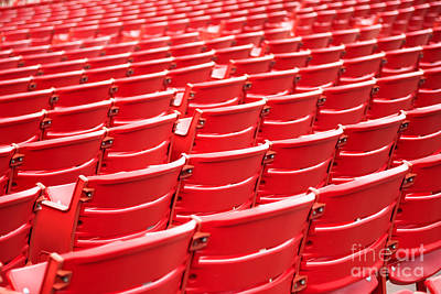 Bleachers Photograph - Red Stadium Seats by Paul Velgos