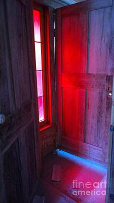 Photograph - Red Stained Glass Reflected On Door by Susan Carella