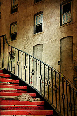 Digital Art -  Red Stair Case by Diana Angstadt