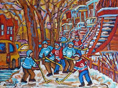 Painting - Red Staircase And Street Hockey Paintings Winter Scene Verdun And Plateau Mont Royal C Spandau Art by Carole Spandau