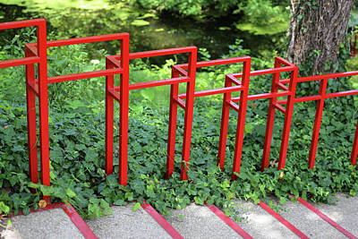 Photograph - Red Stairway Railing Dow Gardens 062618 by Mary Bedy