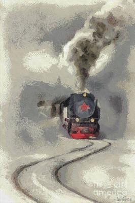 Train Digital Art - Red Star  by Dragica Micki Fortuna