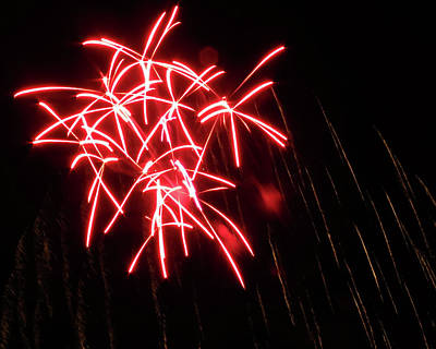 Photograph - Red Star Fireworks by Kyle J West