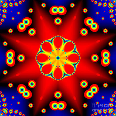 Computer Art Digital Art - Red Star Fractal Mandala by Marv Vandehey