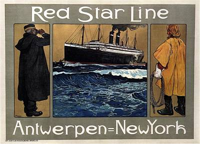 Royalty-Free and Rights-Managed Images - Red Star Line - Antwepen - New York - Retro travel Poster - Vintage Poster by Studio Grafiikka