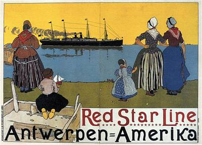 Royalty-Free and Rights-Managed Images - Red Star Line - Antwerpen - Amerika - Retro travel Poster - Vintage Poster by Studio Grafiikka
