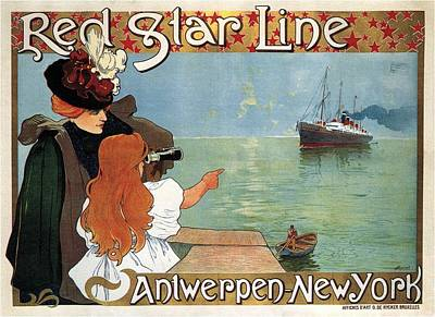Mixed Media - Red Star Line Steamliner Ship - Antwerp To New York - Vintage Travel Advertising Poster by Studio Grafiikka